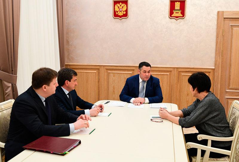 Игорь Руденя провел встречу с Ириной Балковой, избранной главой города Кимры
