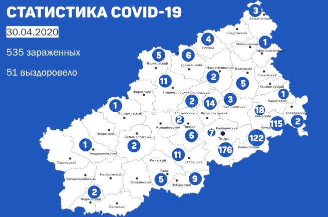 Семь новых случаев заболевания COVID-19 в Кимрах и районе. Данные на утро 30 апреля