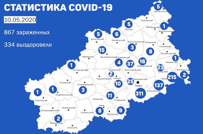 13 новых случаев заболевания COVID-19 в Кимрах и районе. Данные на утро 10 мая