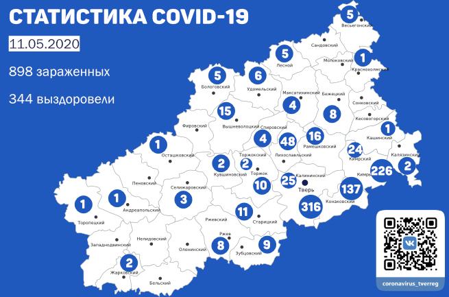 12 новых случая заболевания COVID-19 в Кимрах и районе. Данные на утро 11 мая