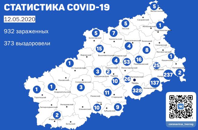 12 новых случаев заболевания COVID-19 в Кимрах и районе. Данные на утро 12 мая