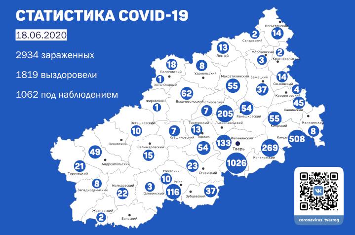 4 новых случая заболевания COVID-19 в Кимрах и районе. Данные на утро 18 июня